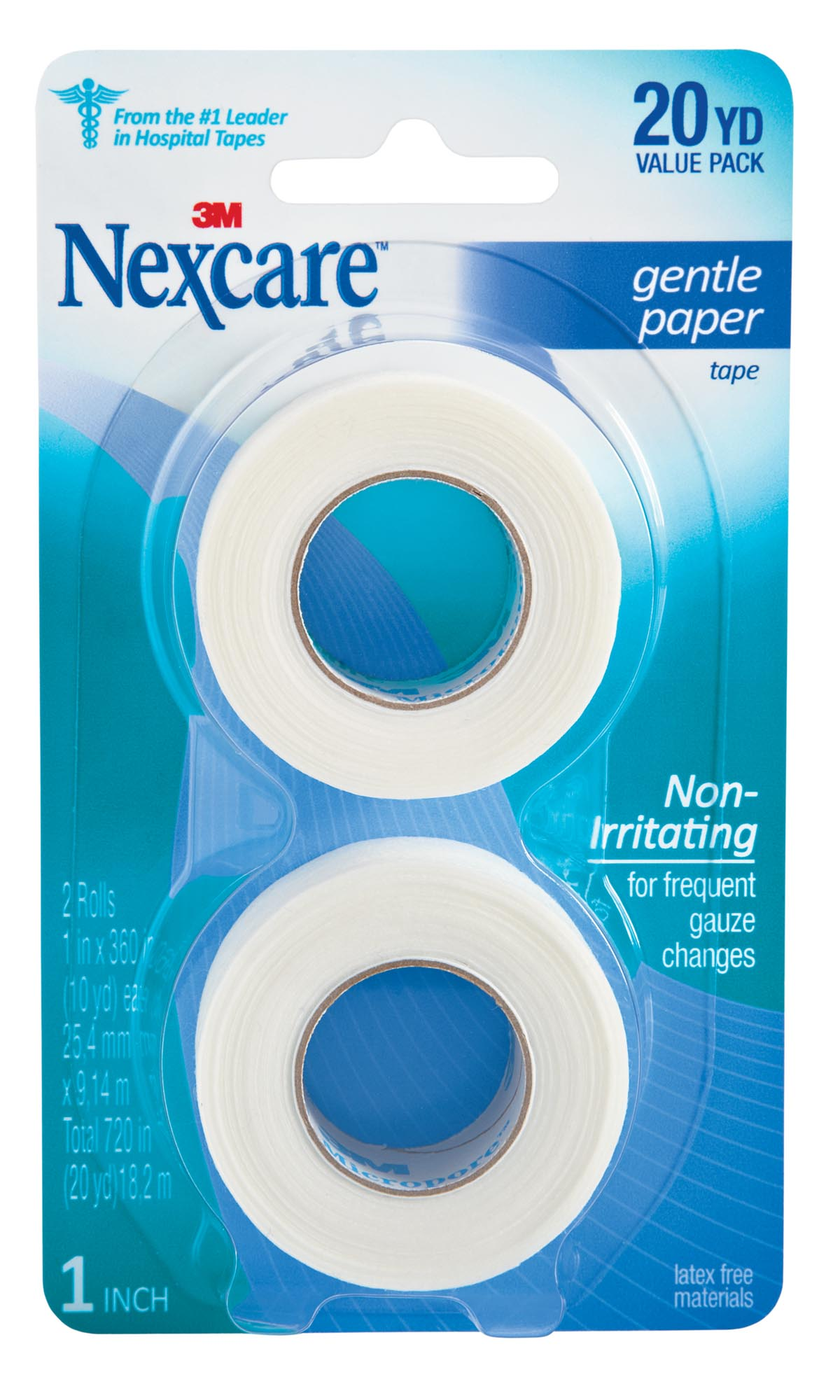 Nexcare Gentle Paper First Aid Tape, From the #1 Leader in U.S. Hospital Tapes, 2 Rolls of 1 in. x 10 yds, White by 3M COMPANY