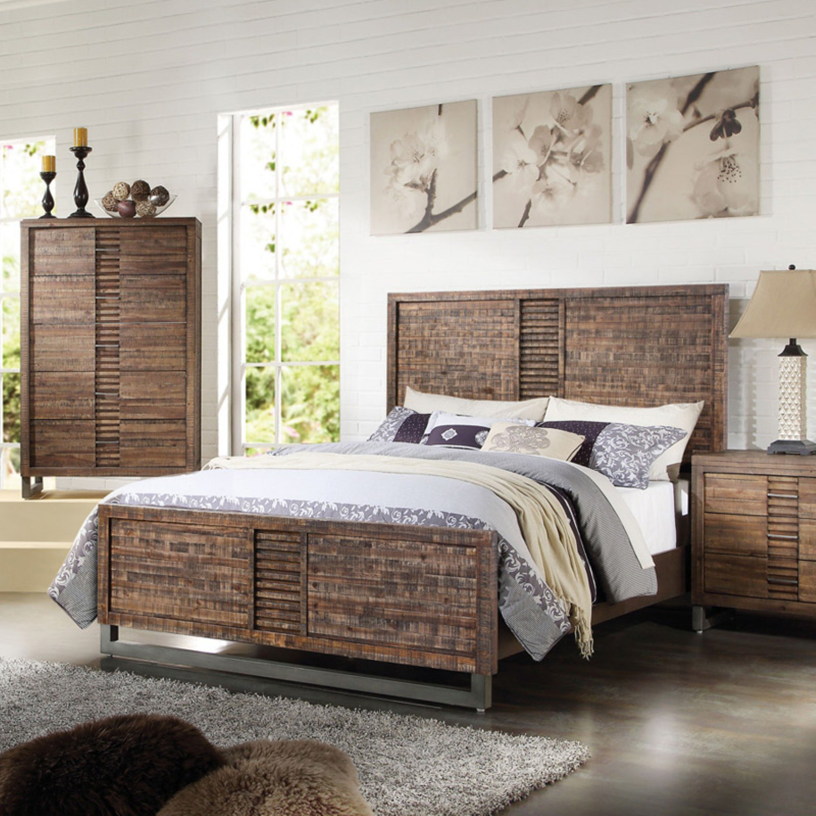 ACME Andria Queen Panel Bed with Top Drawer in Reclaimed Oak, Multiple Sizes