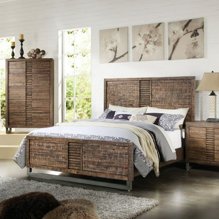 ACME Andria Panel Bed with Top Drawer in Reclaimed Oak, Multiple