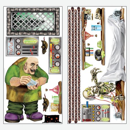 Fun Express - Mad Scientist Design A Room Monster Set for Halloween - Party Decor - Wall Decor - Scene Setters - Halloween - 2 Pieces