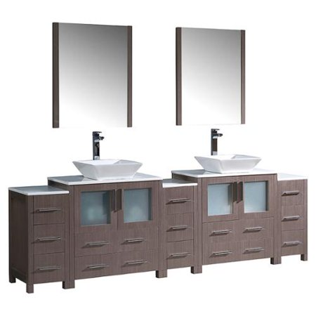 Fresca torino 96 inch grey oak modern double sink bathroom for 96 bathroom cabinets