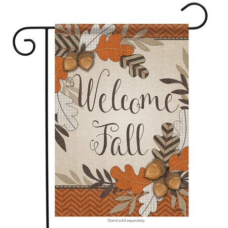 Crafty Fall Welcome Garden Flag Autumn Leaves Acorns Double Sided 12.5
