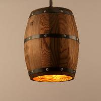 1 Pc Antique Wood Wine Barrel Pendant Lamp Hanging Rustic Unique Kitchen Ceiling Lamp Light Fixture for Home Decor(Without Bulb)