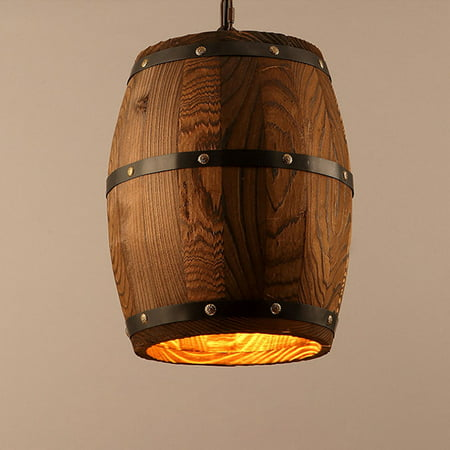 Pendant Lights Creative Retro Wood Wine Barrel Hanging Ceiling Decoration Lamp for Bar Restaurant Cafe ()