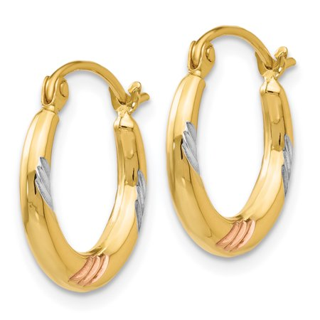 14K Rhodium Plated Yellow Gold & White & Rose Rhodium Polished & Textured Hoop Earrings - image 2 de 3