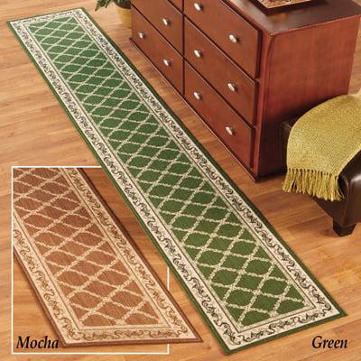 Lattice Design Extra Long Hallway Runner Rug With Skid Resistant Backing Green 20 X 90 Walmart Com Walmart Com