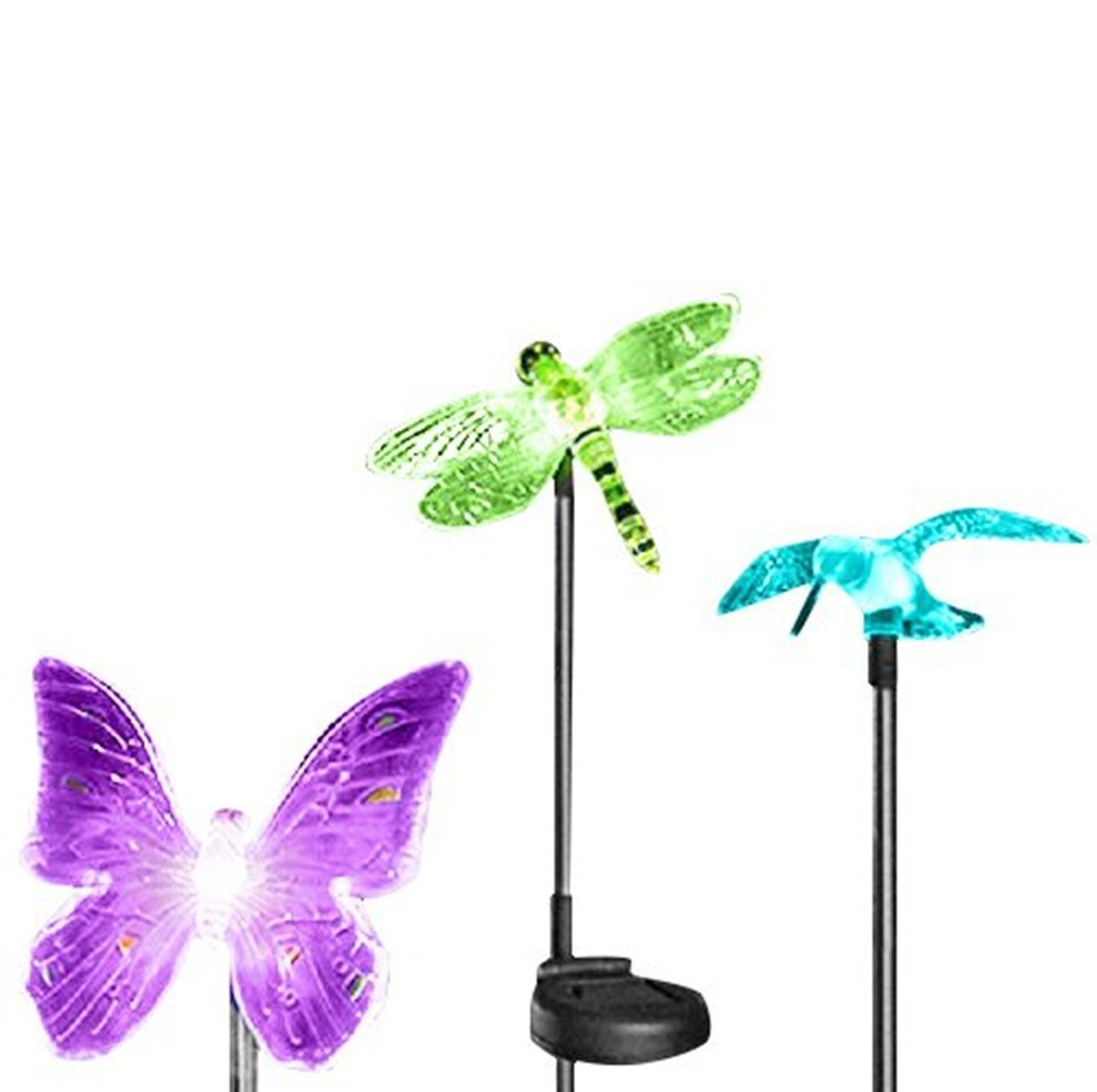Charmant Solar Garden Stake Lights By FirstLights Beautiful Clear Butterfly,  Dragonfly, Hummingbird Lit By Magic Color Changing LEDs   Decor   Patio    Outdoors ...