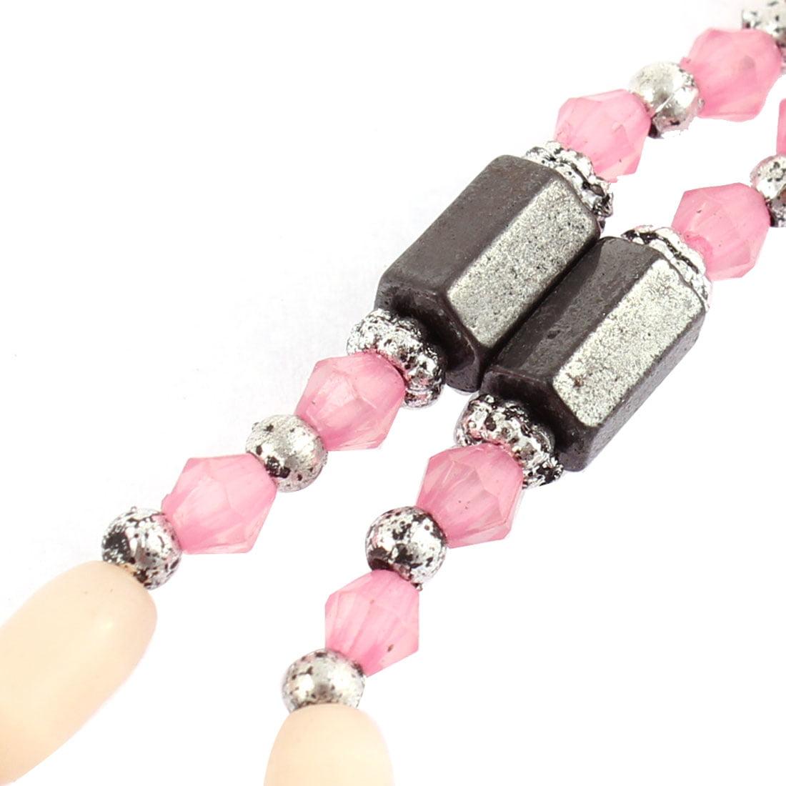 Lady Magnetic Hematite Bead Magnet Clasp Bracelet Choker Necklace Pink Black - image 1 de 3