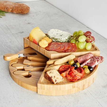 - VonShef Tiered Fold Out Cheese Board and Platter (Set of 4)