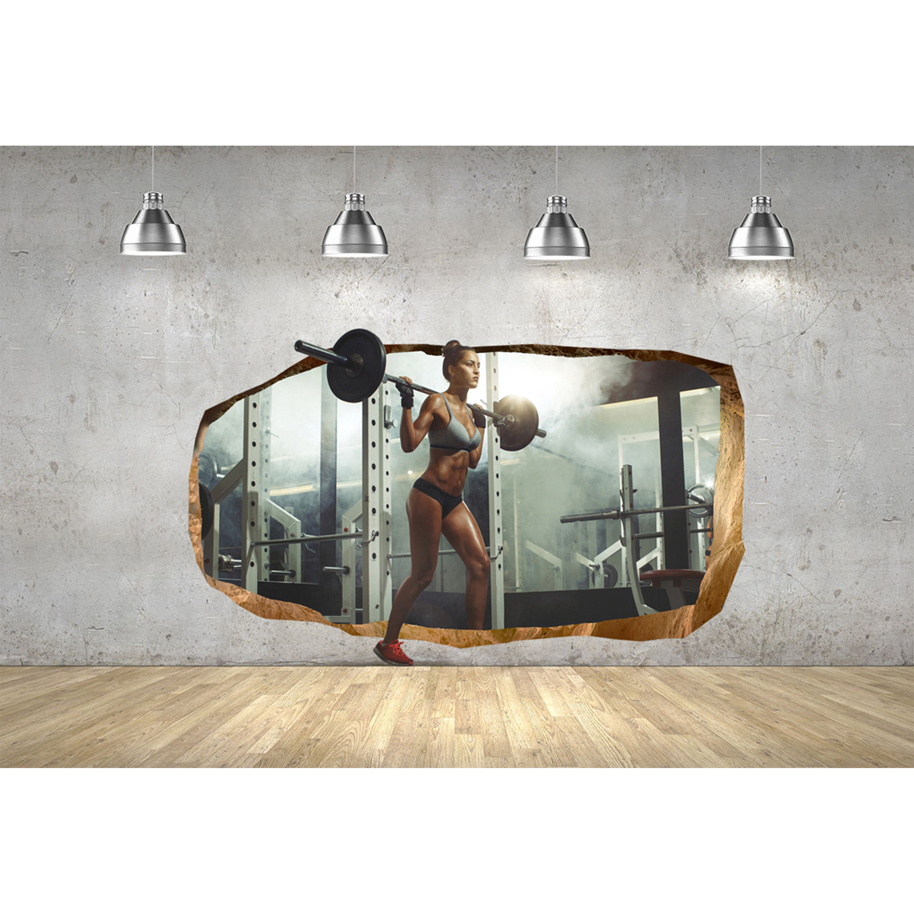 Startonight 3D Mural Wall Art Photo Decor Sexy Girl At and Gym Amazing Dual View Surprise Wall Mural Wallpaper for Bedroom Sport Wall Art Gift Large 47.24 '' By 86.61 ''