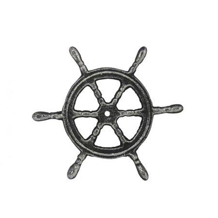 Antique Silver Cast Iron Ship Wheel Trivet 6
