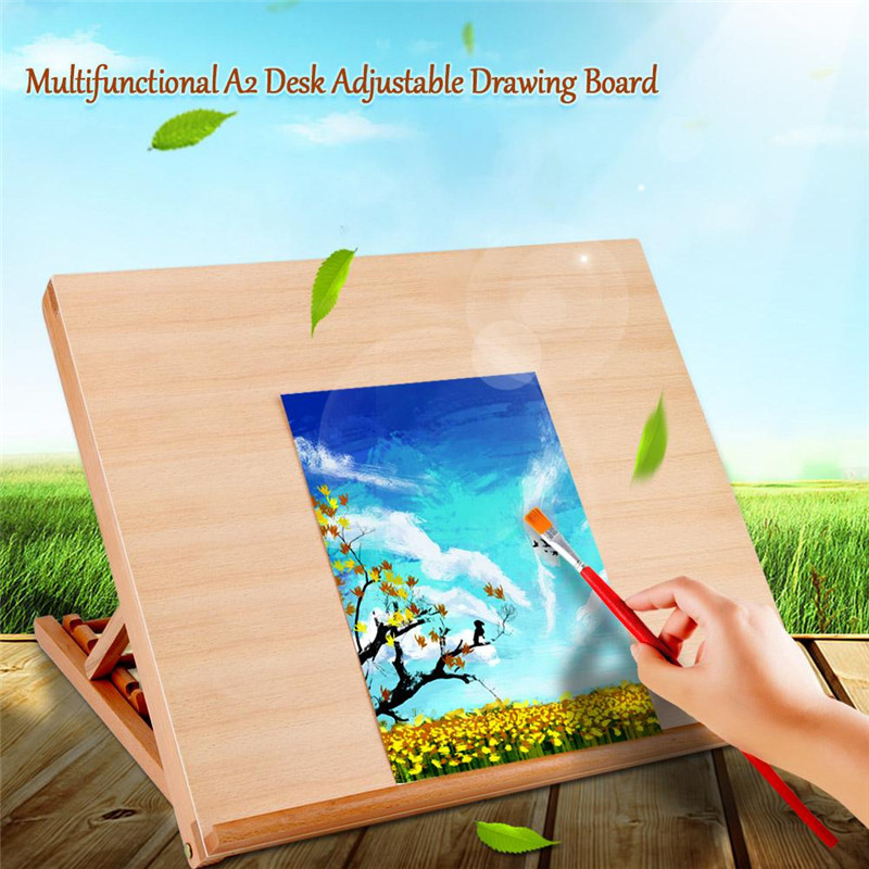 """1 Pcs Wood Desktop Table Easel Solid Wood Drawing Board A2 Desk Adjustable for Painting & Sketching 19.2"""" x 16.5"""" Art Supply for Students Kids"""