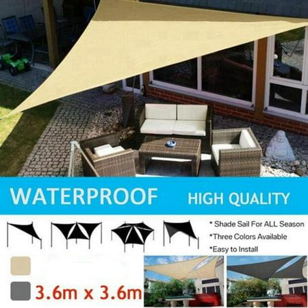 Sun Shade Sail Garden Patio Sunscreen Awning Canopy Shade 98% UV Block Grey/Yellow ()