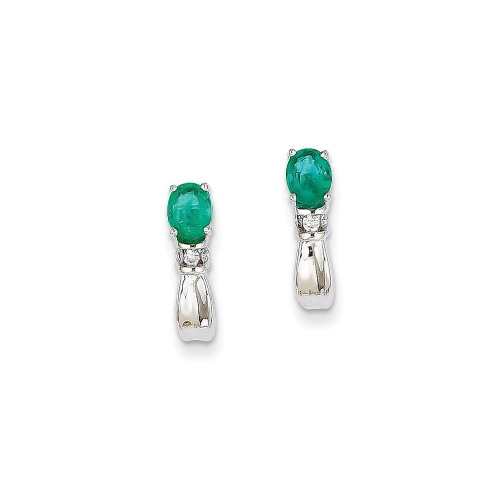 14k White Gold 0.5IN Long Diamond & Emerald Post Earrings