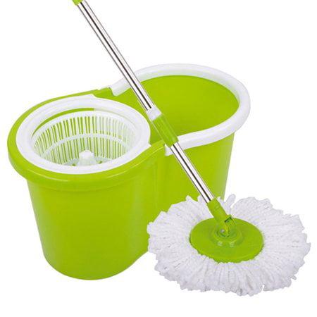 Ktaxon Microfiber Magic Mop with Bucket 2 Heads Rotating 360°Easy Floor - Purple Mop