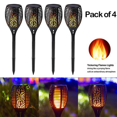 4 Pack Outdoor 12 LED Solar Torch Flickering Flame Light Garden Waterproof Lamp