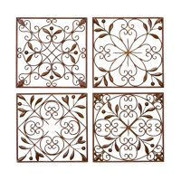 Decmode Rustic Bronze Scrolled Metal Wall Decor - Set of 4