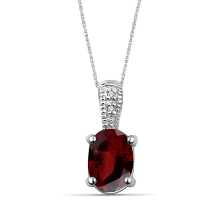 1.00 Carat T.G.W. Garnet Gemstone and Accent White Diamond Pendant (Genuine Jasper Gemstone Pendants)