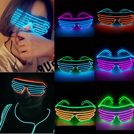 Light Up Party Glasses ,EL Wire Fashion Neon Shutter Electroluminescent Flashing LED Glasses Light Up Glow Eyewear Shades Flashing Rave Nightclub Party - Glass In Glow Sticks