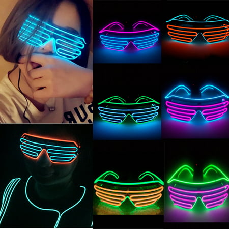 Light Up Party Glasses ,EL Wire Fashion Neon Shutter Electroluminescent Flashing LED Glasses Light Up Glow Eyewear Shades Flashing Rave Nightclub Party](Neon Themed Party)
