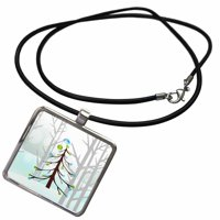3dRose Green and Blue Decorated Pine Tree with Bird in Woodland Forest - Necklace with Pendant (ncl_262633_1)