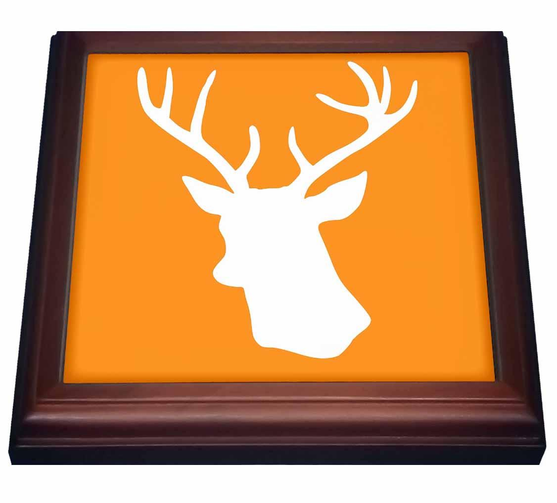 3dRose White Stag Head Silhouette on Orange - country deer with antlers, Trivet with Ceramic Tile, 8 by 8-inch