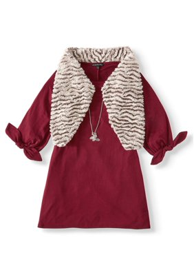My Michelle Tie Sleeve Dress with Faux Fur Vest (Big Girls)
