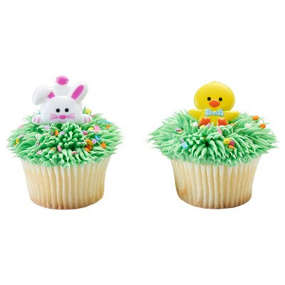 24pack Duck and Bunny Cupcake / Desert / Food Decoration Topper Rings with Favor Stickers & Sparkle Flakes
