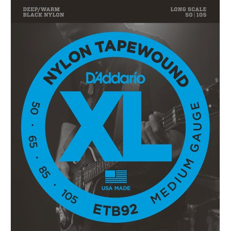 D'Addario ETB92 Tapewound Bass Guitar Strings, Medium, 50-105, Long Scale Daddario Chrome Bass Strings