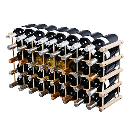 Costway Wood Wine Rack Stackable Storage Storage Display Shelves (40-Bottle)
