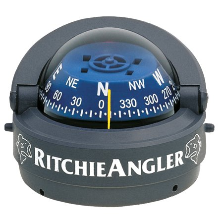 Ritchie RA-93 RitchieAngler Surface Mount Compass, Grey with Blue (Surface Mount Rim)
