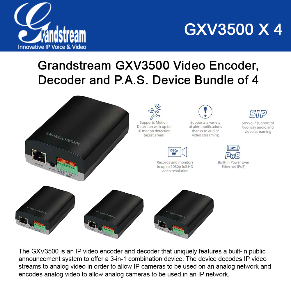 Grandstream GXV3500 4-UNITS 3-in-1 IP Video Encoder, Decoder, PAS, PoE