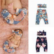 Kids Baby Girls Floral Clothes Bottoms Leggings Pants Toddler Trousers +Headband