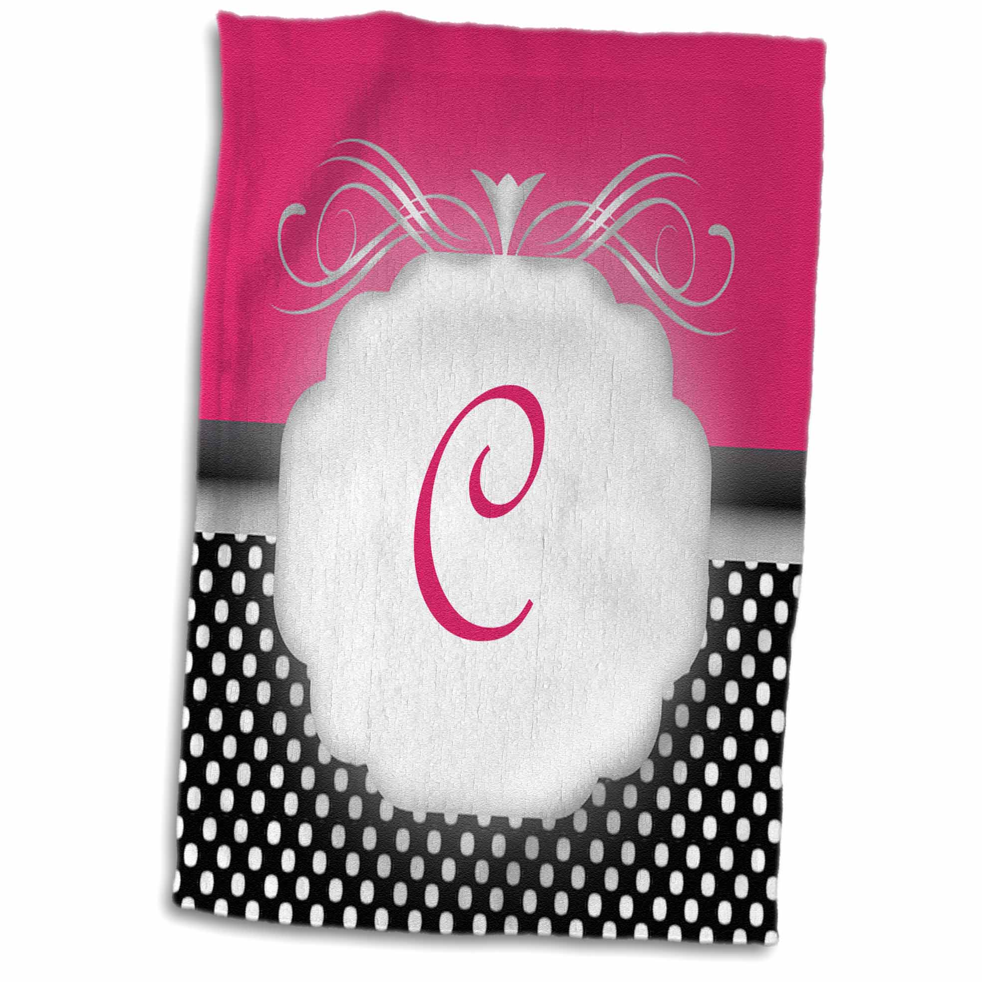 3dRose Elegant Pink with Black and White Polka Dot Monogram Letter C - Towel, 15 by 22-inch