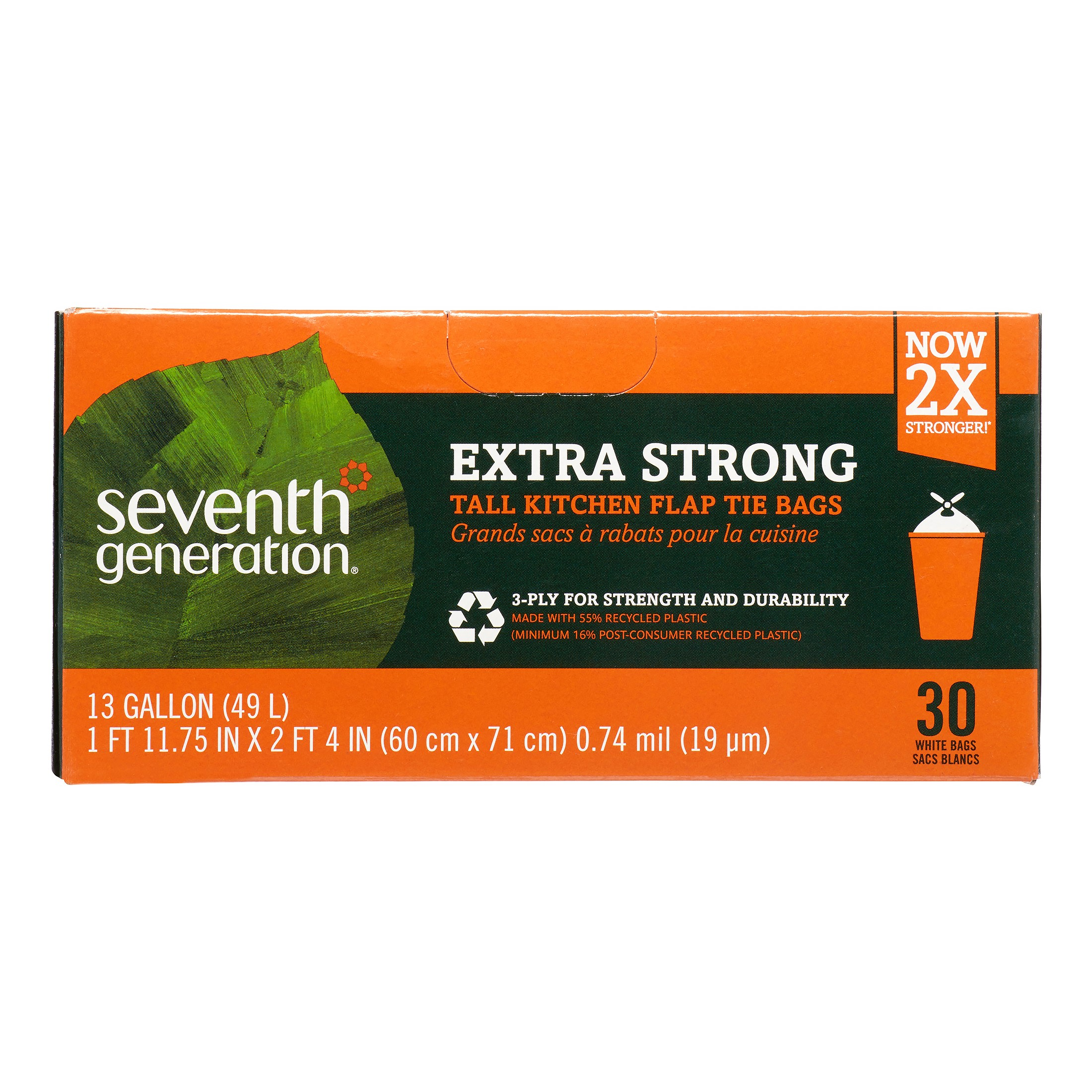 Seventh Generation Extra Strong Tall Kitchen Trash Bags 13 Gallon 30 count