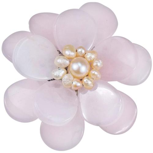 Aeravida Handmade Rose Quartz and Natural Pink Pearl Azalea Floral Brooch (5-6 mm)(Thailand) by Overstock