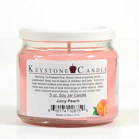 3 Pcs of 5 oz Juicy Peach Soy Jar Candles 3.5 in. diameter x 2.75 in. tall Sweet Juicy Pear Soy Candle