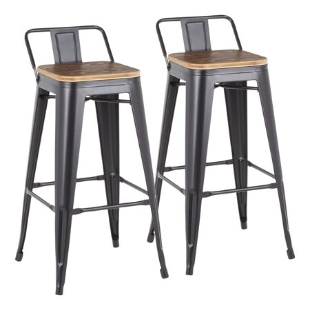 Oregon Industrial Low Back Barstool in Black Metal and Wood-Pressed Grain Bamboo by LumiSource - Set of 2 ()