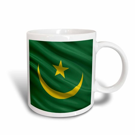 3dRose Flag of Mauritania waving in the wind, Ceramic Mug, 15-ounce