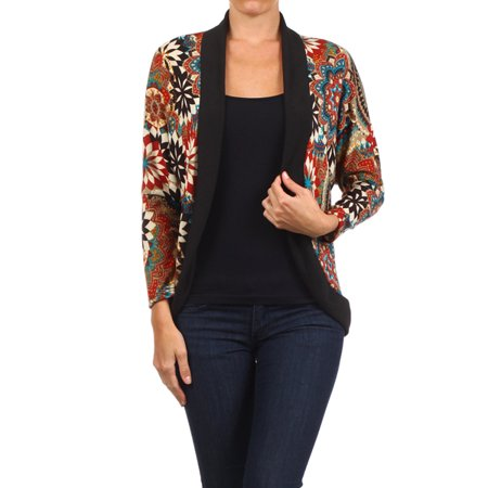 Multi Print Sweater - Women's  trendy style print cardigan.
