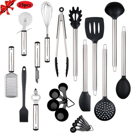 Kitchen Utensils set - 23 Stainless Steel Cooking Supplies - Non-Stick and Heat Resistant Cookware set - New Chef's Kitchen Gadget Tools Collection - Best for Pots and Pans - Great Holiday Gift Gift Set Pot