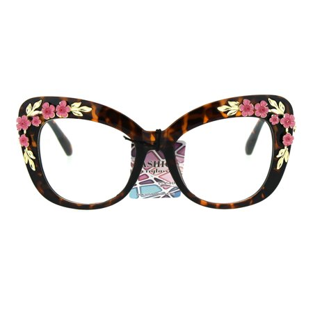 Womens Floral Jewel Thick Plastic Diva Clear Lens Oversize Cat Eye Glasses (Best Glasses For Thick Lenses)