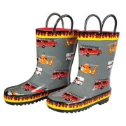 Foxfire Boys Grey Fire Trucks Printed Rubber Boots 11-3 Kids
