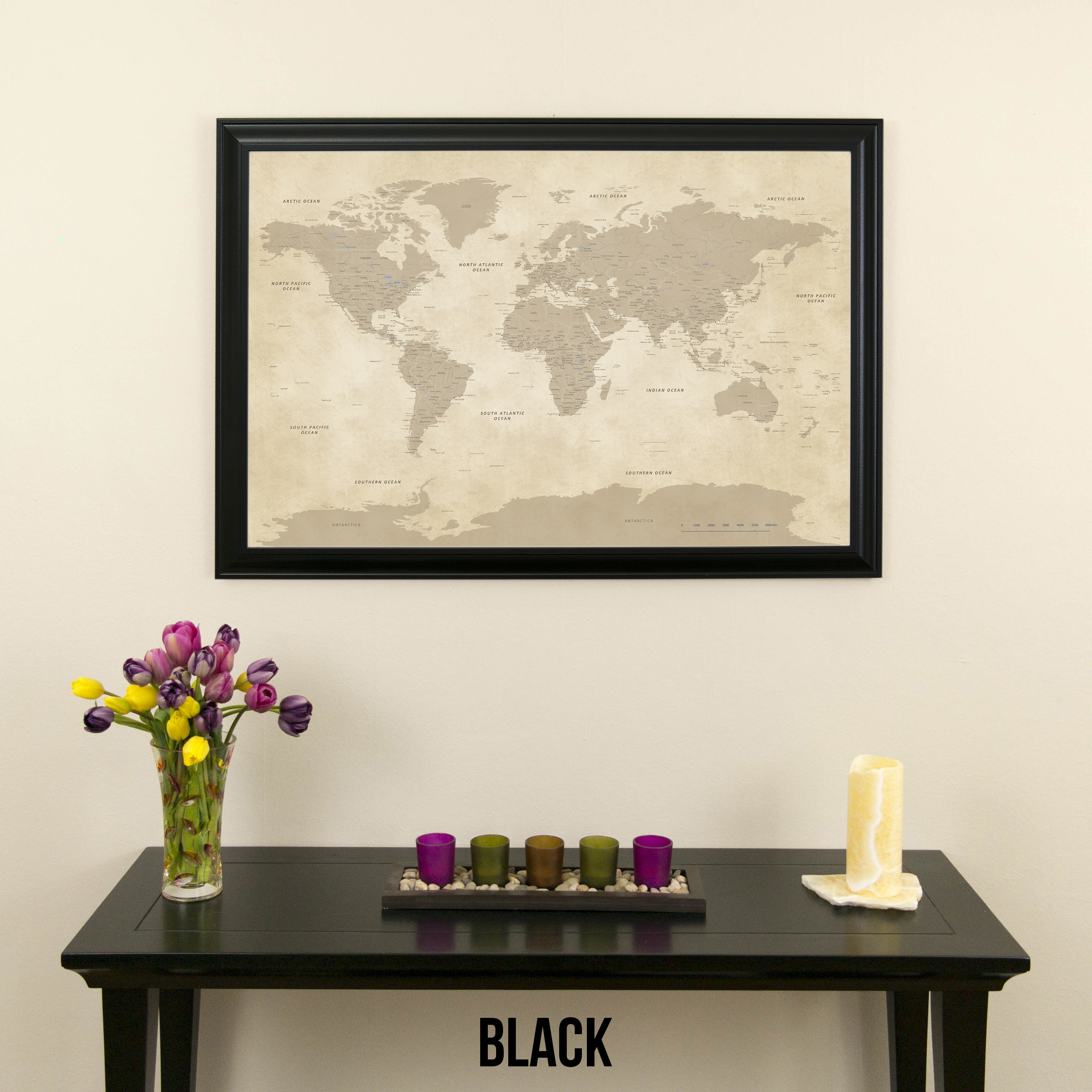 811502978568 Vintage World Push Pin Travel Map with Rustic Black Frame - Walmart.com