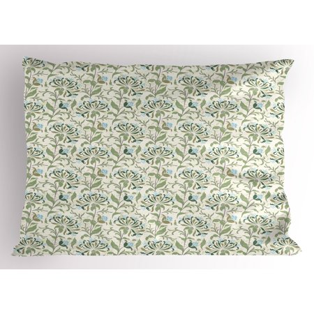 Green Pillow Sham Pastel Colored Floral Ornaments Soft Petals Leaves Vintage Artistic Garden Botany, Decorative Standard Size Printed Pillowcase, 26 X 20 Inches, Multicolor, by Ambesonne