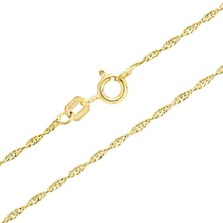 Thin 1.5MM 020 Gauge Singapore Twisted Rope Link Chain Necklace For Women 14K Gold Plated 925 Sterling Silver