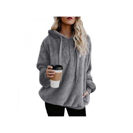 da9f7af78b9c Esho - Women Fluffy Warm Hoodie Solid Sweatshirt Hooded Jumper ...