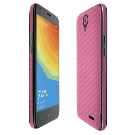 Skinomi TechSkin Pink Carbon Fiber & Screen Protector for ZTE Prelude Plus