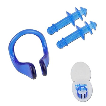 NEW INTEX SWIMMING EAR PLUGS AND NOSE CLIP COMBO SET WITH CASE