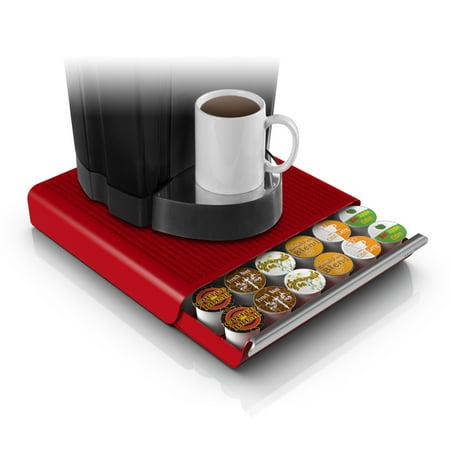 Mind Reader 36 Capacity K Cup  Dolce Gusto  Cbtl  Verismo  Single Serve Coffee Pod Holder Drawer  Red